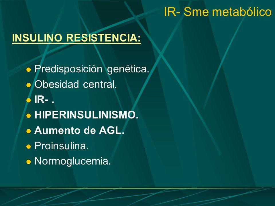 IR- Sme metabólico INSULINO RESISTENCIA: Predisposición genética.
