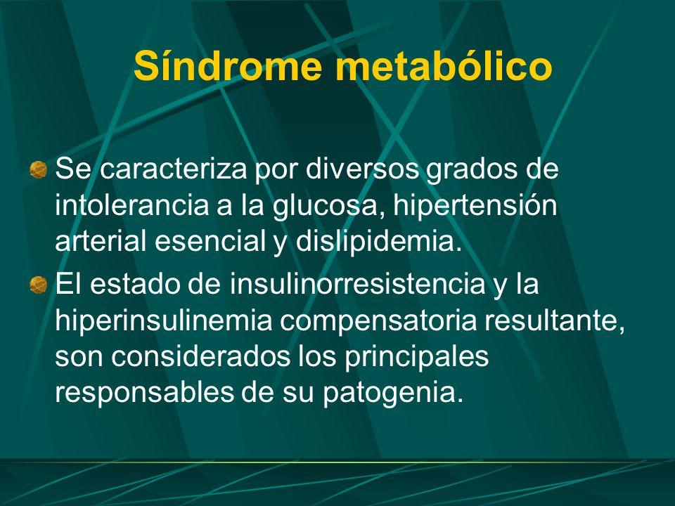 Síndrome metabólico Se caracteriza por diversos grados de intolerancia a la glucosa, hipertensión arterial esencial y dislipidemia.