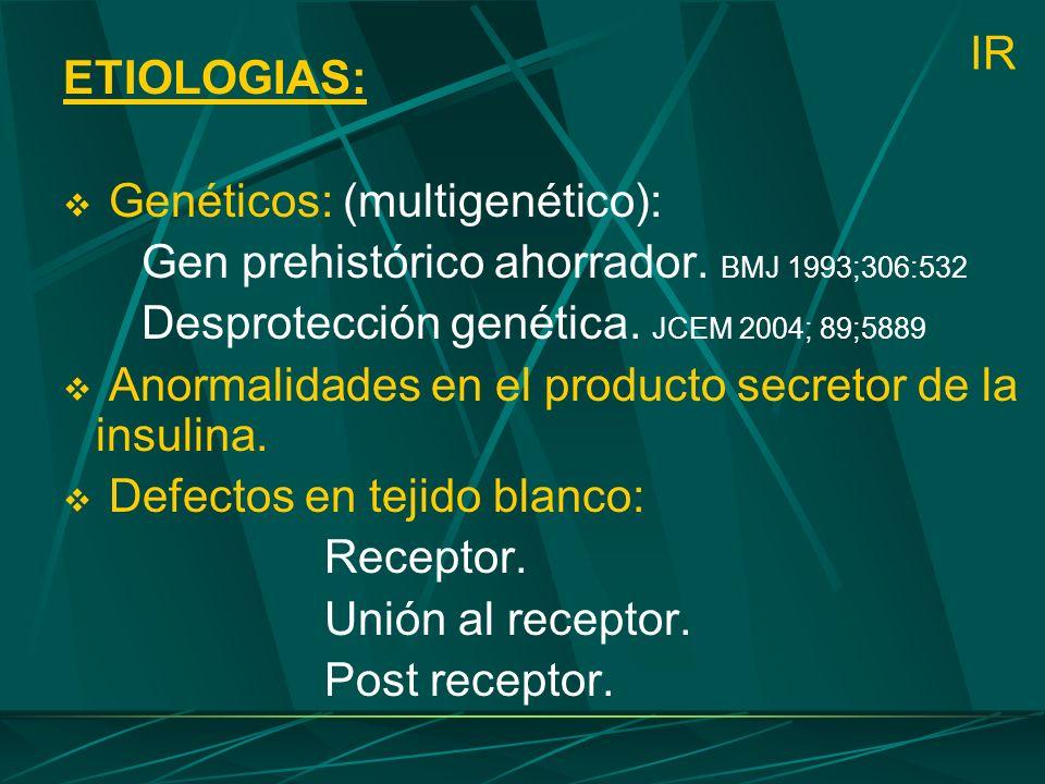ETIOLOGIAS: Genéticos: (multigenético): Gen prehistórico ahorrador. BMJ 1993;306:532. Desprotección genética. JCEM 2004; 89;5889.