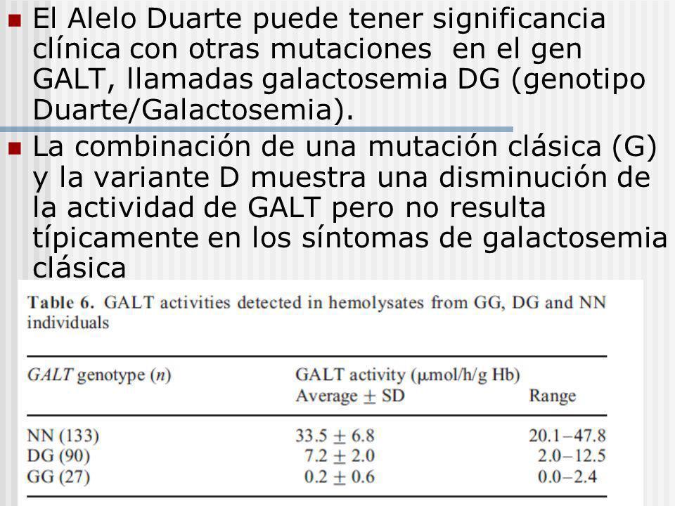 El Alelo Duarte puede tener significancia clínica con otras mutaciones en el gen GALT, llamadas galactosemia DG (genotipo Duarte/Galactosemia).