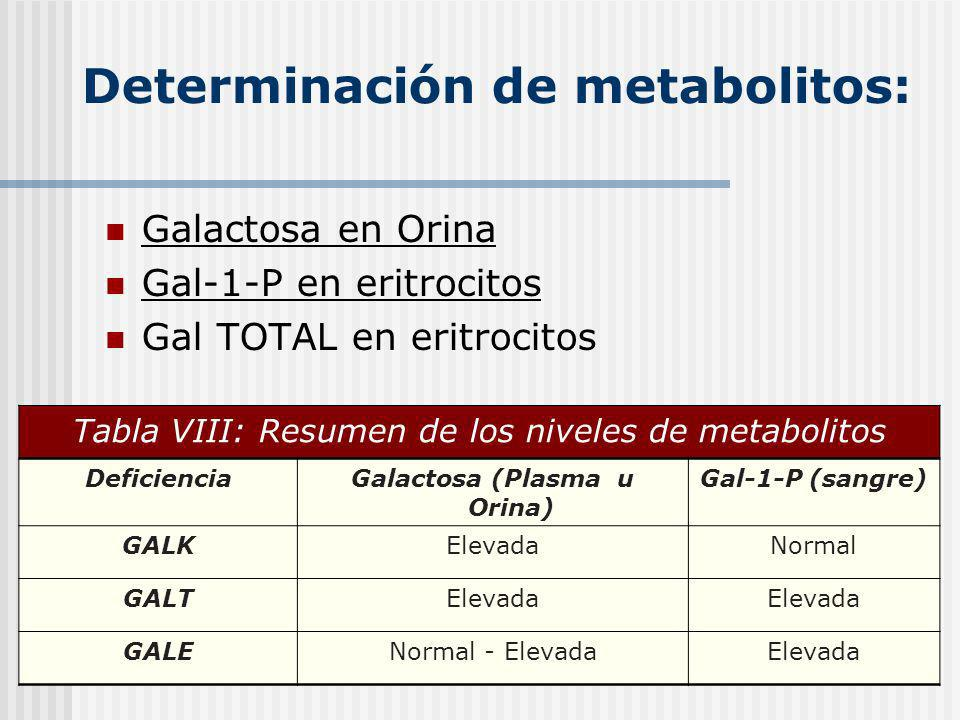 Determinación de metabolitos: