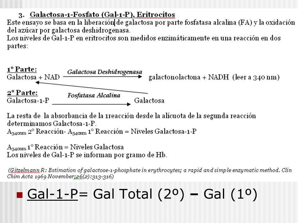 Gal-1-P= Gal Total (2º) – Gal (1º)