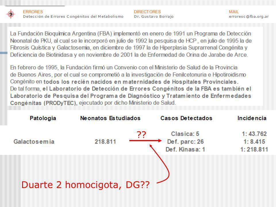 Duarte 2 homocigota, DG