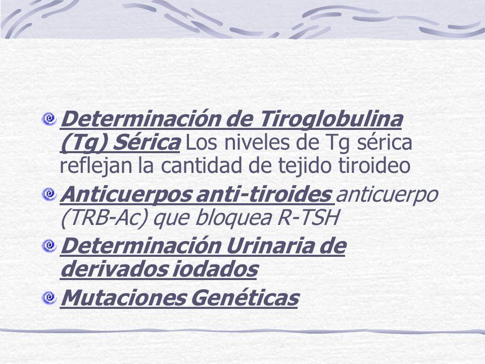 Determinación de Tiroglobulina (Tg) Sérica Los niveles de Tg sérica reflejan la cantidad de tejido tiroideo