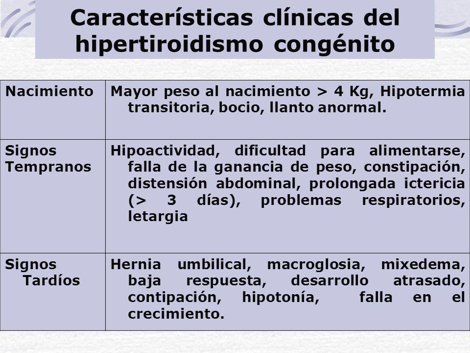 Características clínicas del hipertiroidismo congénito