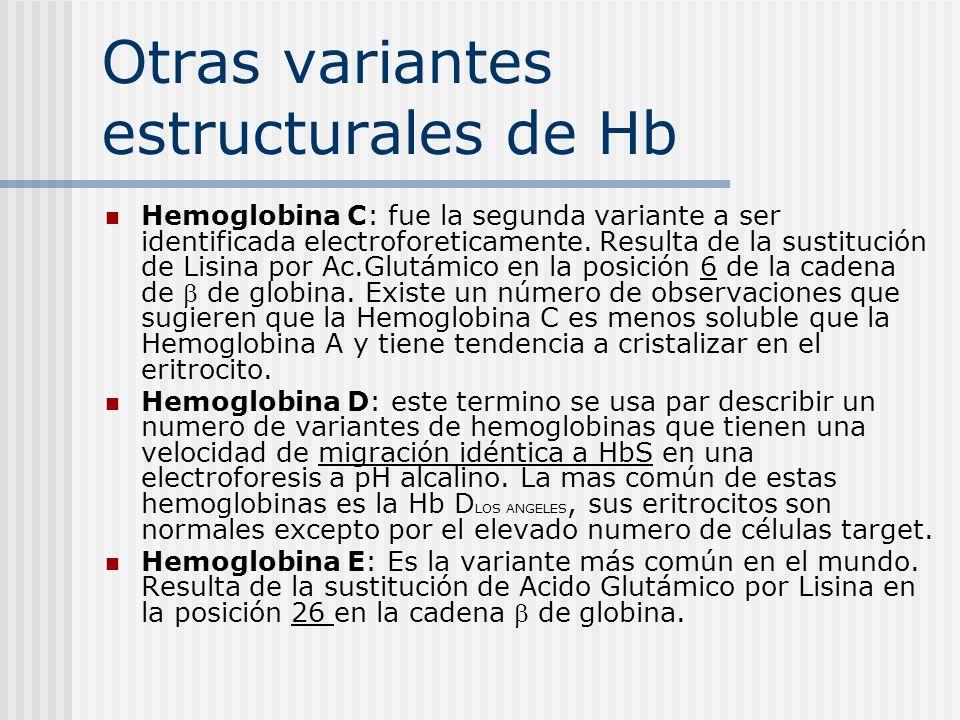 Otras variantes estructurales de Hb