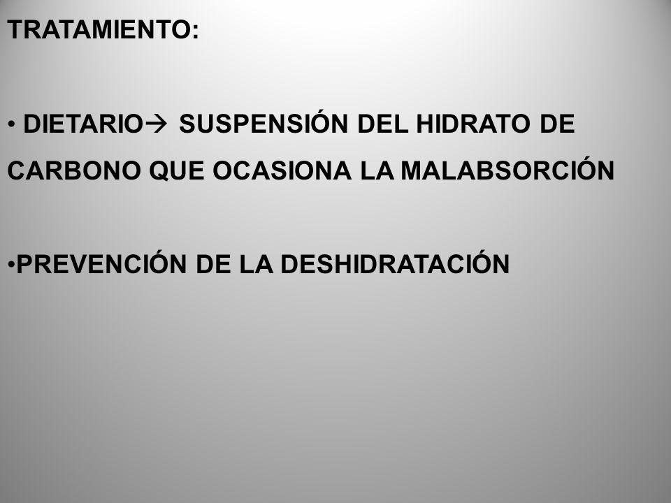 TRATAMIENTO: DIETARIO SUSPENSIÓN DEL HIDRATO DE CARBONO QUE OCASIONA LA MALABSORCIÓN.