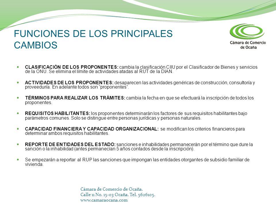 FUNCIONES DE LOS PRINCIPALES CAMBIOS