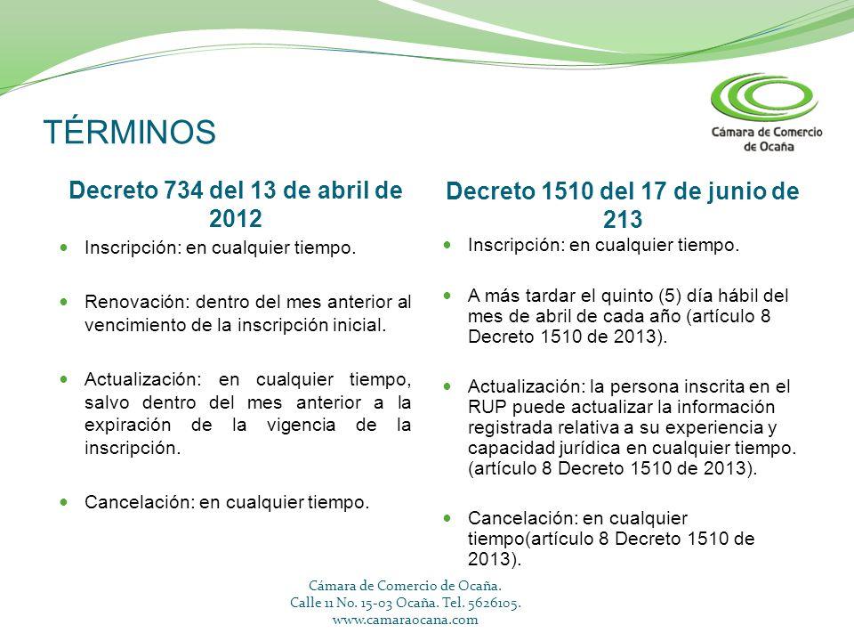 TÉRMINOS Decreto 734 del 13 de abril de 2012