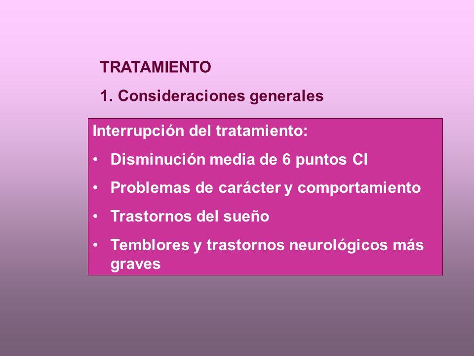 TRATAMIENTO Consideraciones generales. Interrupción del tratamiento: Disminución media de 6 puntos CI.