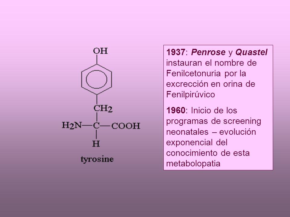 1937: Penrose y Quastel instauran el nombre de Fenilcetonuria por la excrección en orina de Fenilpirúvico