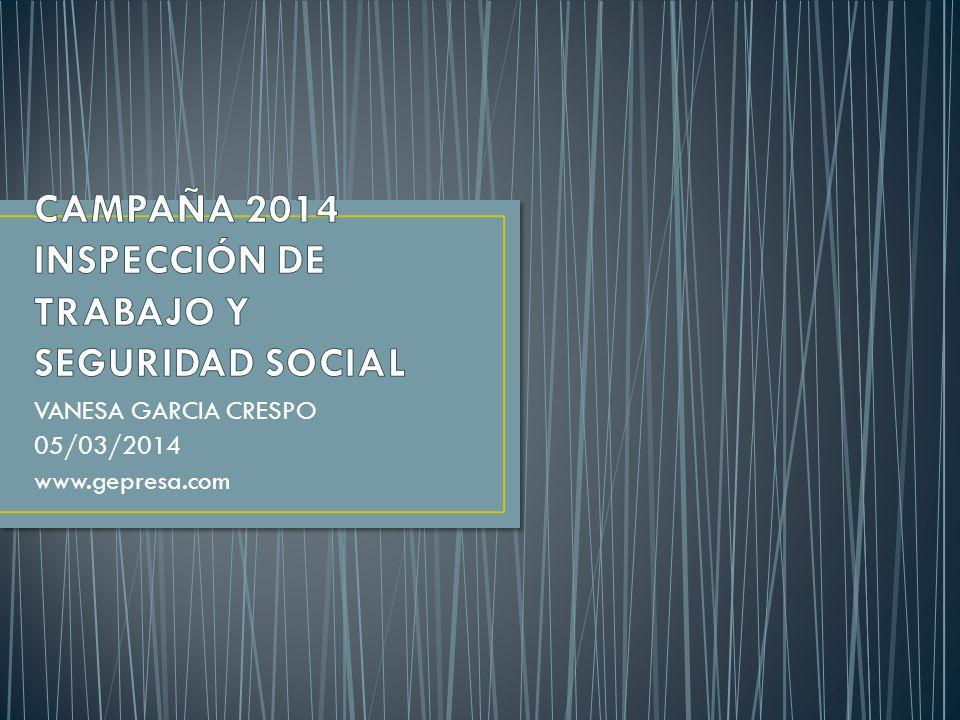 CAMPAÑA 2014 INSPECCIÓN DE TRABAJO Y SEGURIDAD SOCIAL