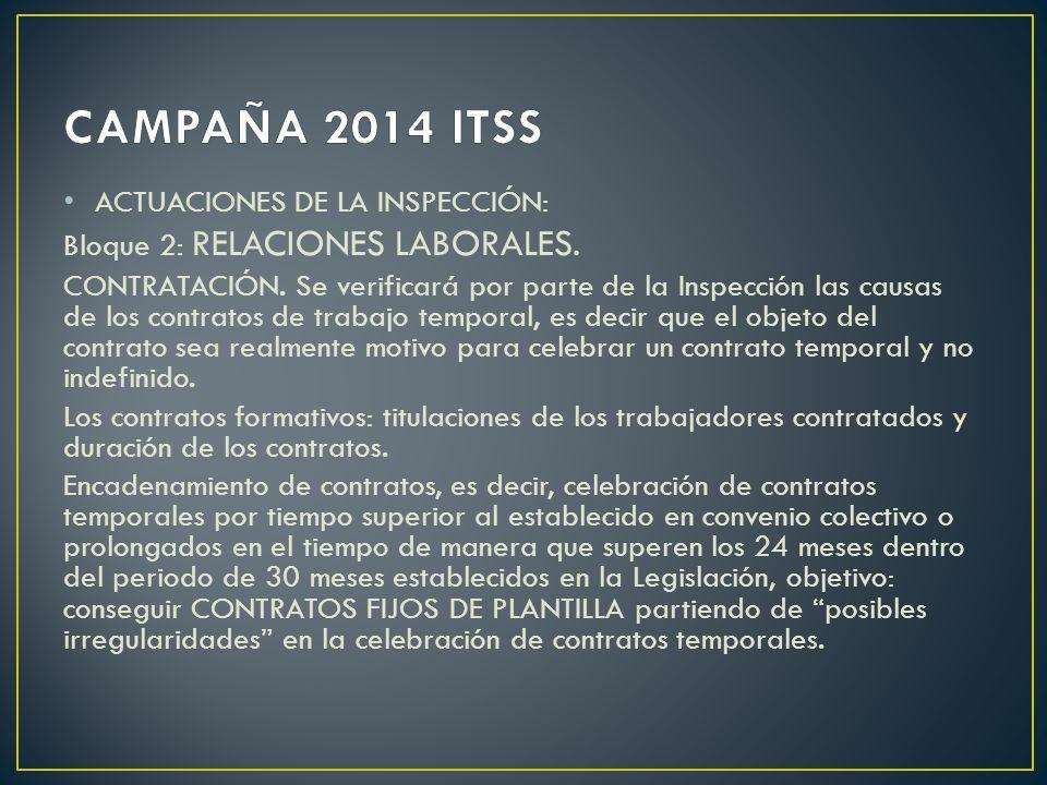 CAMPAÑA 2014 ITSS ACTUACIONES DE LA INSPECCIÓN: