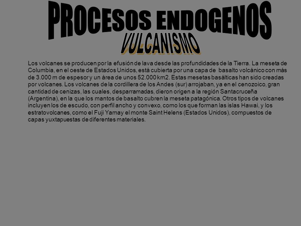 PROCESOS ENDOGENOS VULCANISMO