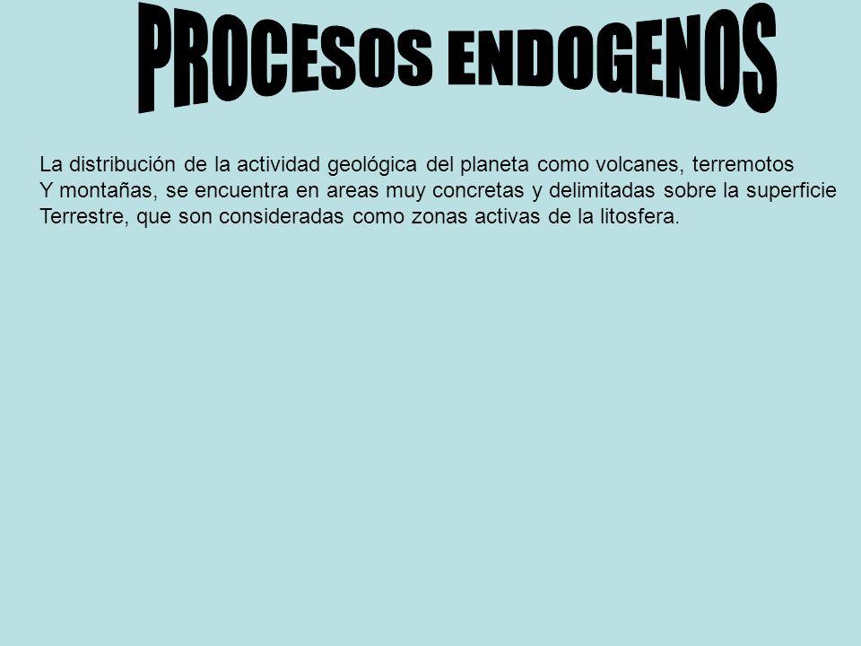 PROCESOS ENDOGENOS La distribución de la actividad geológica del planeta como volcanes, terremotos.