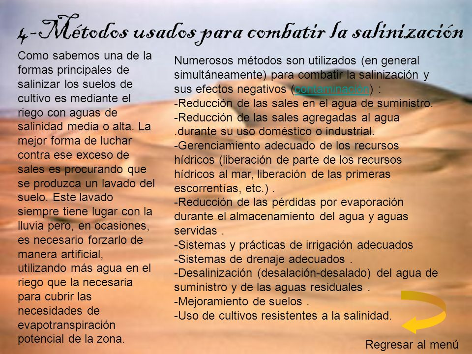 4-Métodos usados para combatir la salinización