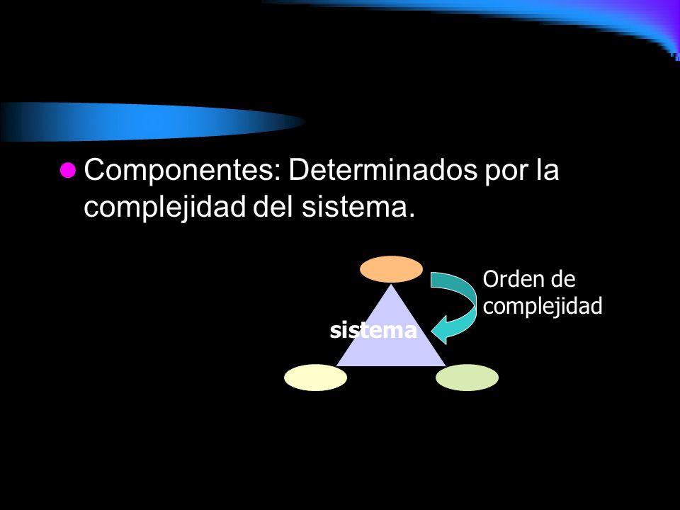 Componentes: Determinados por la complejidad del sistema.