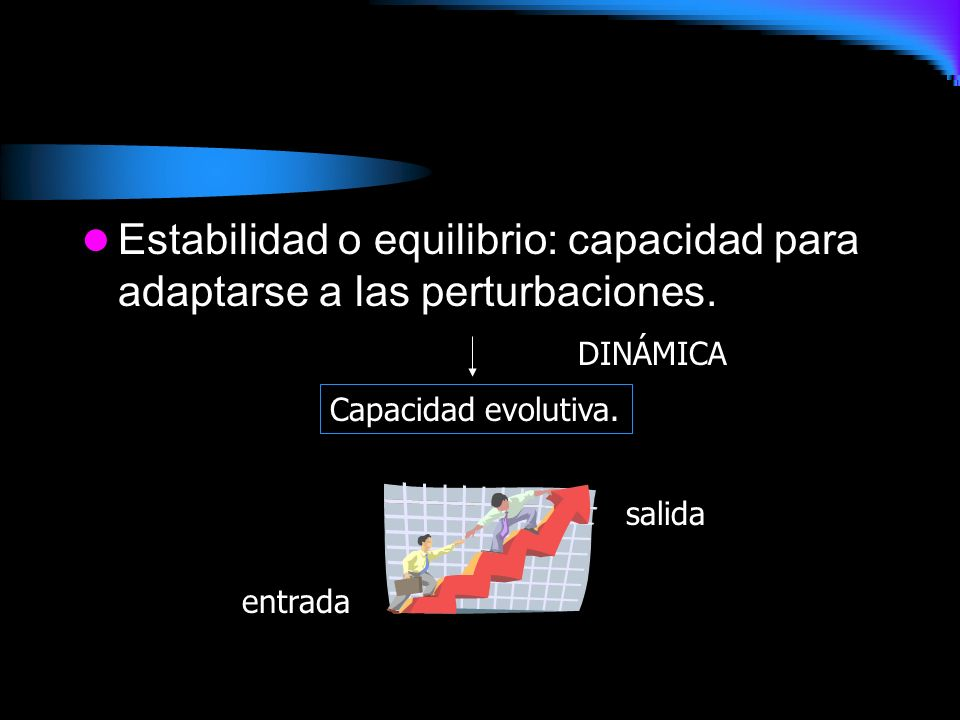 Estabilidad o equilibrio: capacidad para adaptarse a las perturbaciones.