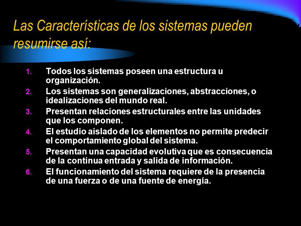 Las Características de los sistemas pueden resumirse así: