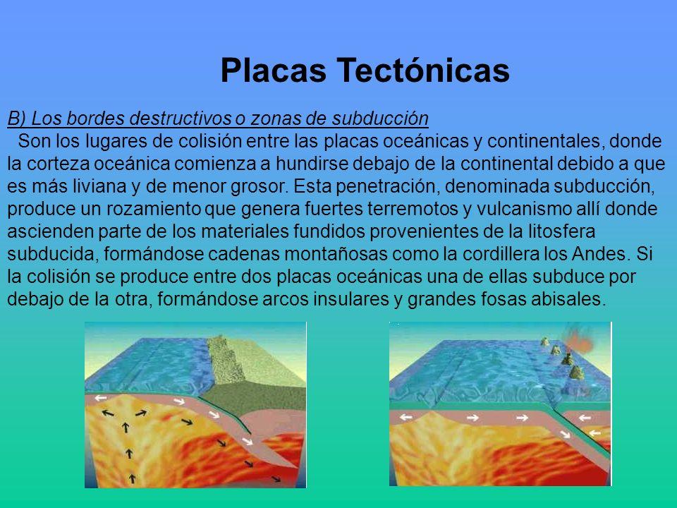 Placas Tectónicas B) Los bordes destructivos o zonas de subducción