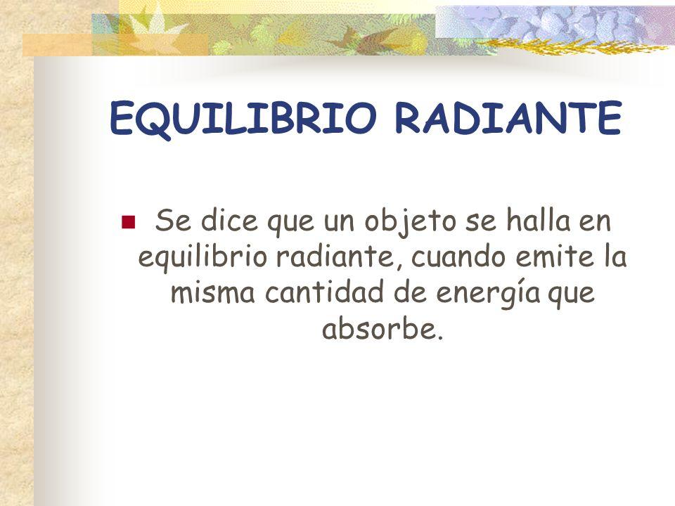 EQUILIBRIO RADIANTE Se dice que un objeto se halla en equilibrio radiante, cuando emite la misma cantidad de energía que absorbe.