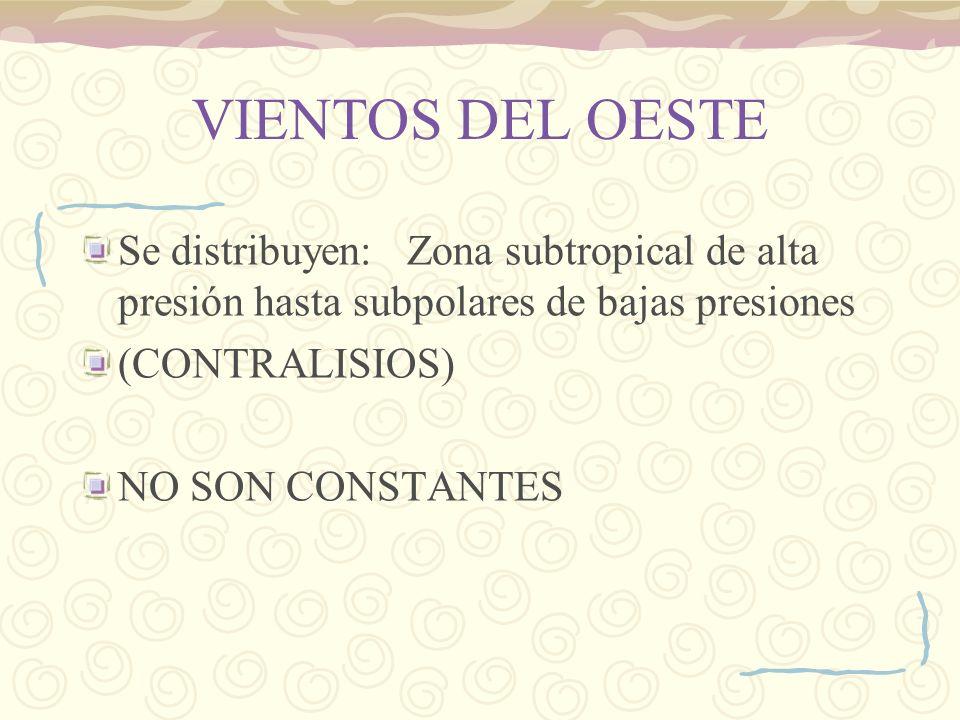 VIENTOS DEL OESTE Se distribuyen: Zona subtropical de alta presión hasta subpolares de bajas presiones.