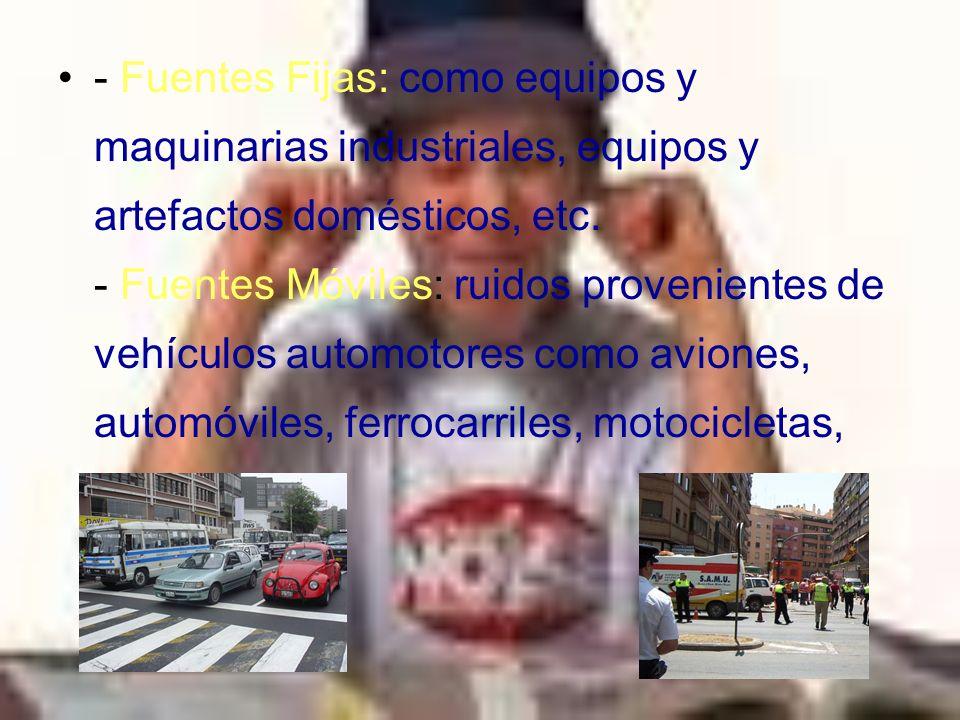- Fuentes Fijas: como equipos y maquinarias industriales, equipos y artefactos domésticos, etc.