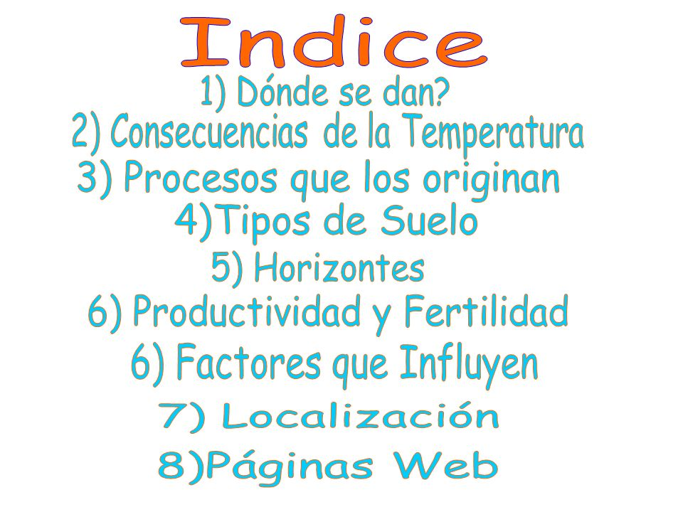 Indice 3) Procesos que los originan 4)Tipos de Suelo 5) Horizontes