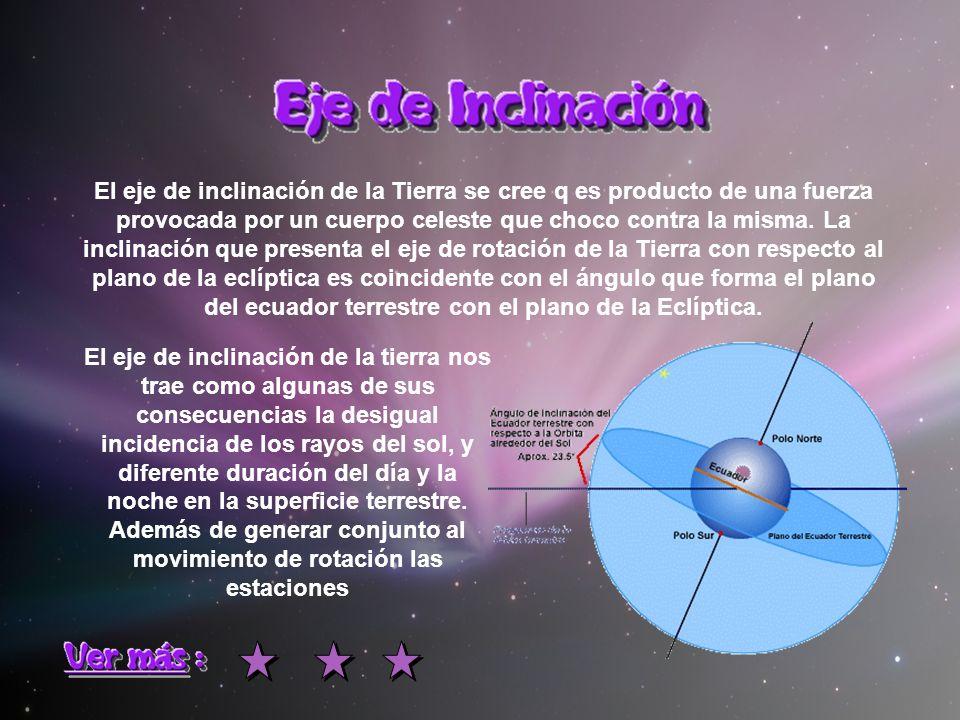 El eje de inclinación de la Tierra se cree q es producto de una fuerza provocada por un cuerpo celeste que choco contra la misma. La inclinación que presenta el eje de rotación de la Tierra con respecto al plano de la eclíptica es coincidente con el ángulo que forma el plano del ecuador terrestre con el plano de la Eclíptica.