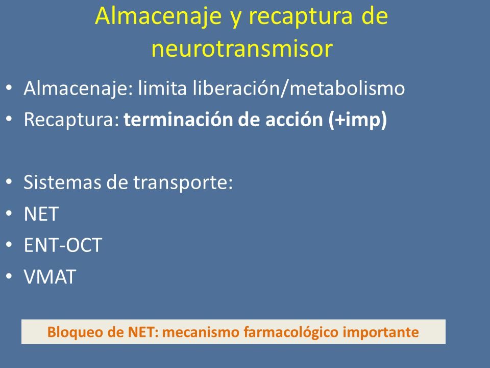 Almacenaje y recaptura de neurotransmisor