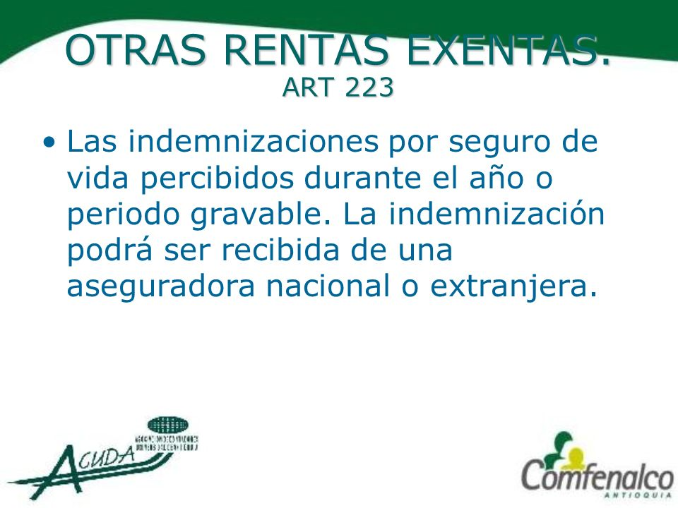 OTRAS RENTAS EXENTAS. ART 223