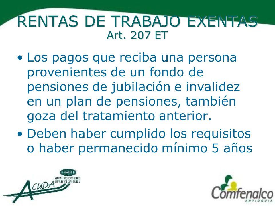 RENTAS DE TRABAJO EXENTAS Art. 207 ET