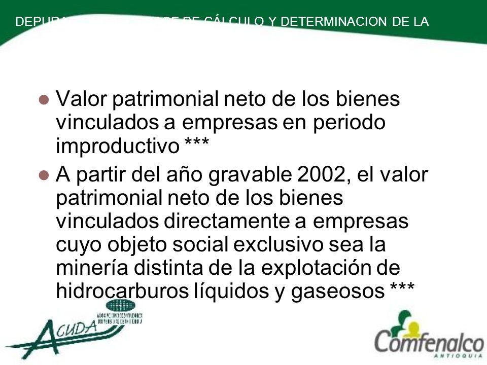 DEPURACION DE LA BASE DE CÁLCULO Y DETERMINACION DE LA RENTA PRESUNTIVA.