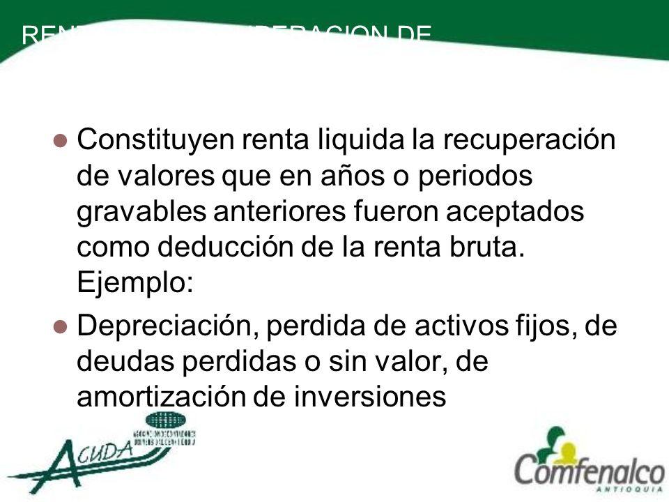 RENTA POR RECUPERACION DE DEDUCCIONES