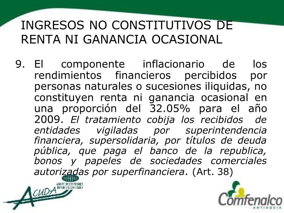 INGRESOS NO CONSTITUTIVOS DE RENTA NI GANANCIA OCASIONAL
