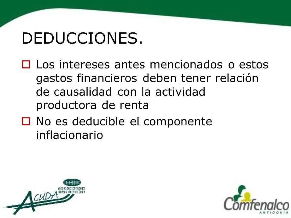 DEDUCCIONES. Los intereses antes mencionados o estos gastos financieros deben tener relación de causalidad con la actividad productora de renta.