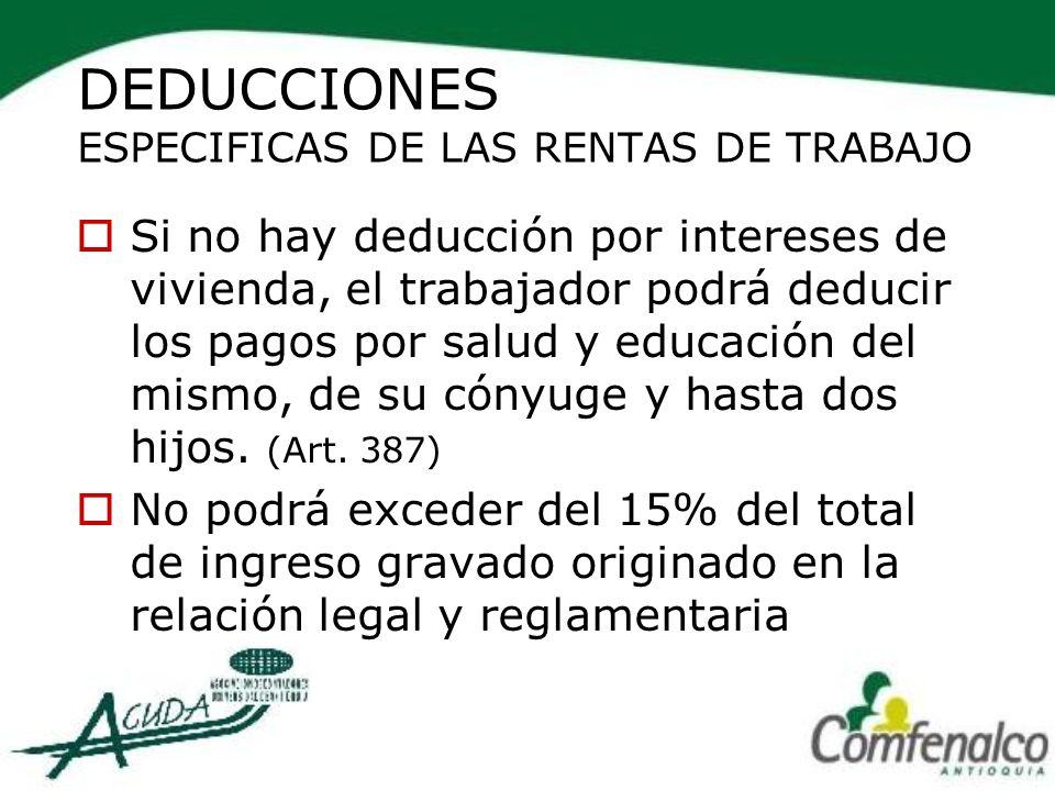 DEDUCCIONES ESPECIFICAS DE LAS RENTAS DE TRABAJO
