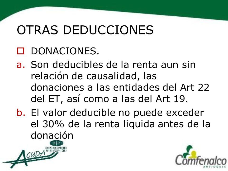 OTRAS DEDUCCIONES DONACIONES.