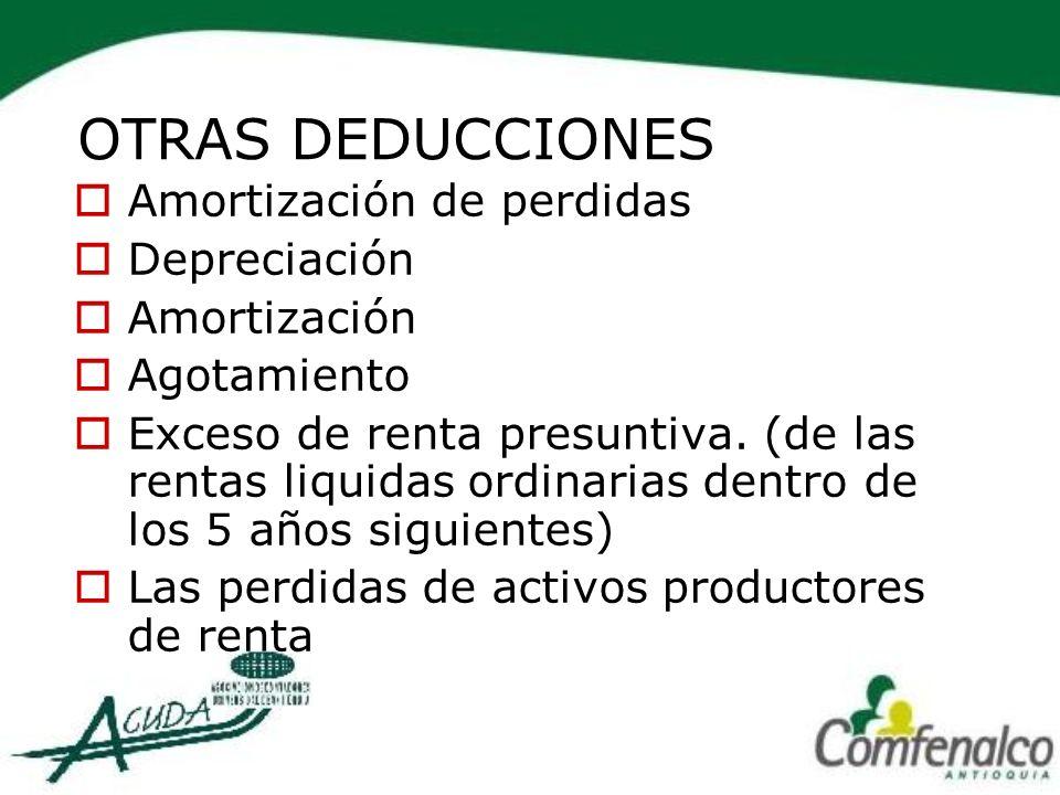 OTRAS DEDUCCIONES Amortización de perdidas Depreciación Amortización
