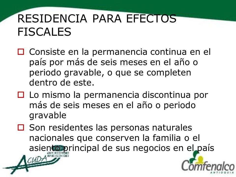 RESIDENCIA PARA EFECTOS FISCALES