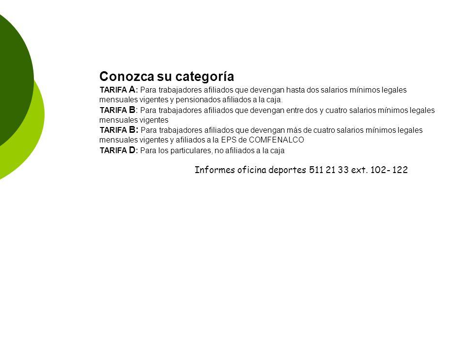 Conozca su categoría Informes oficina deportes 511 21 33 ext. 102- 122