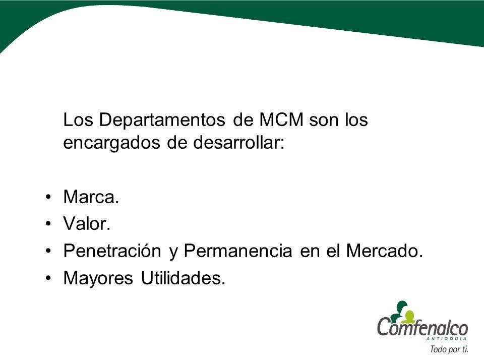 Los Departamentos de MCM son los encargados de desarrollar: