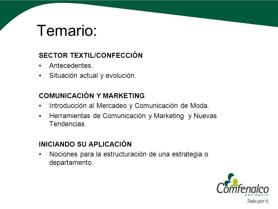 Temario: SECTOR TEXTIL/CONFECCIÓN Antecedentes.