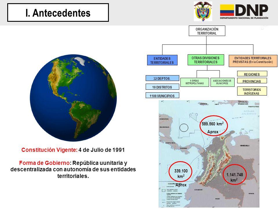 I. Antecedentes Constitución Vigente: 4 de Julio de 1991