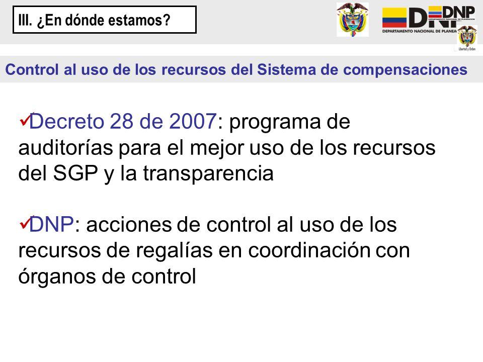 III. ¿En dónde estamos Control al uso de los recursos del Sistema de compensaciones.