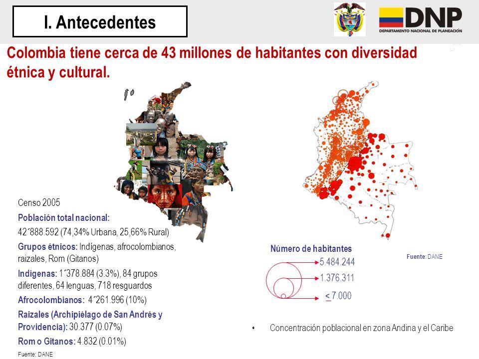 I. Antecedentes Colombia tiene cerca de 43 millones de habitantes con diversidad étnica y cultural.