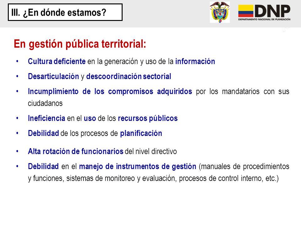 En gestión pública territorial: