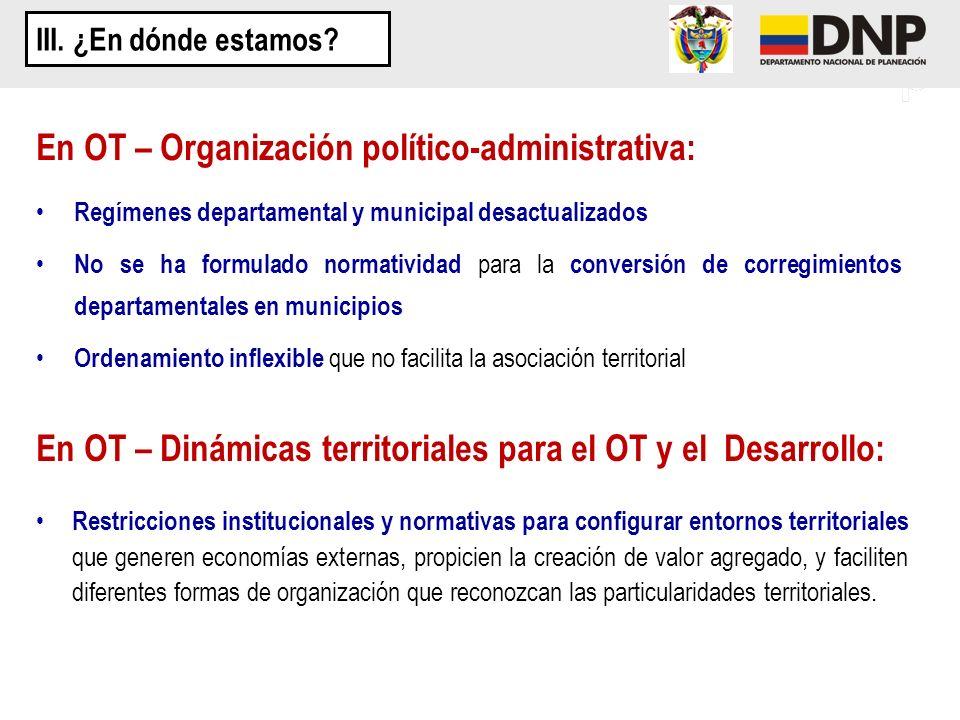 En OT – Organización político-administrativa: