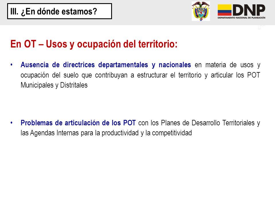 En OT – Usos y ocupación del territorio: