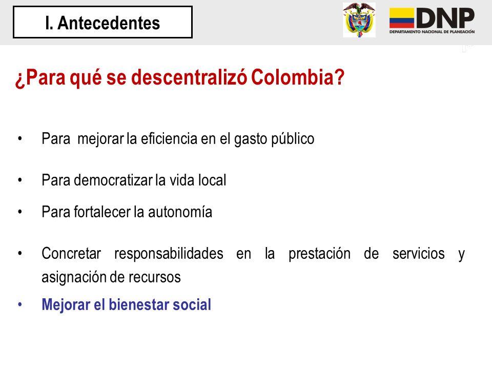 ¿Para qué se descentralizó Colombia